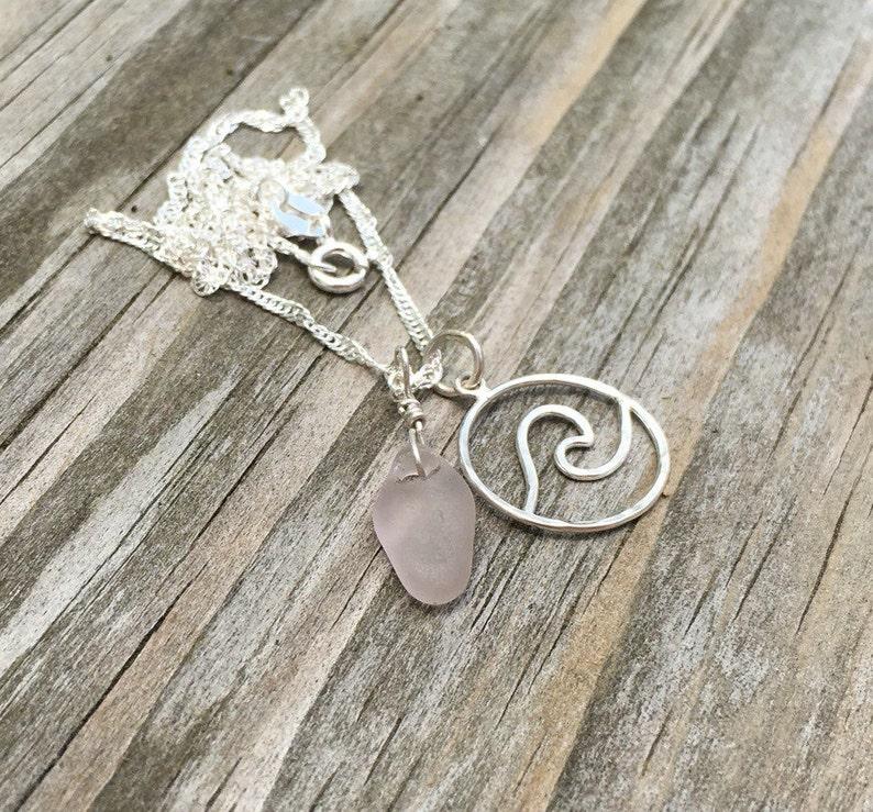 Wave necklace sea glass necklace Nami necklace Hawaiian Sea image 0