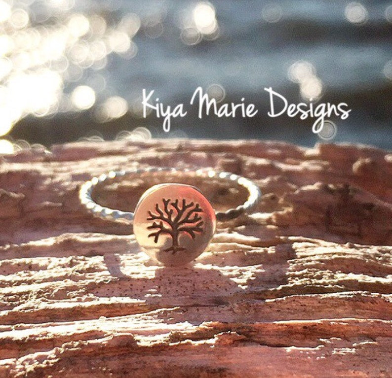 Tree of life Ring tree ring Skinny band stack ring Sterling image 0