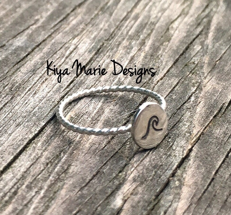 Sterling silver wave ring hand stamped wave ring skinny band image 0