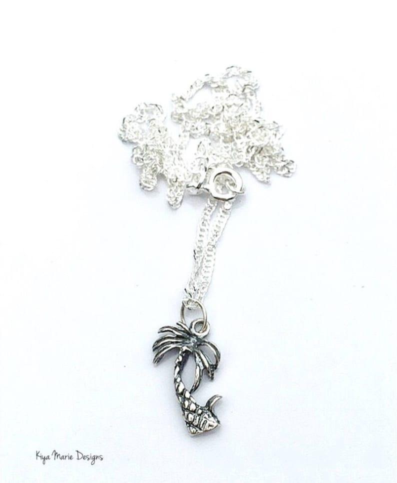 Island jewelry palm tree jewelry sterling silver palm tree image 0