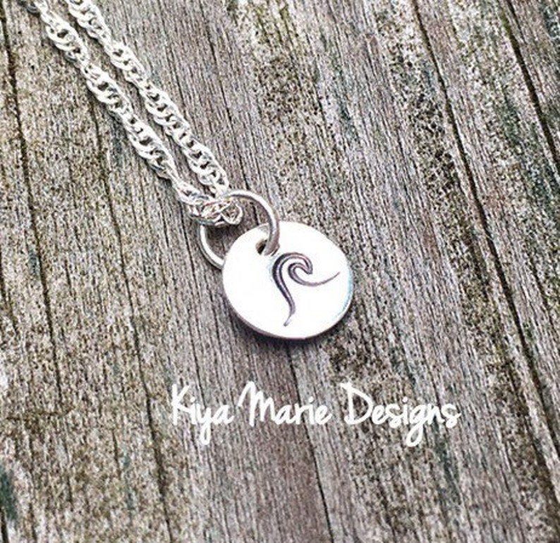 Wave necklace sterling silver wave handstamped jewelry image 0