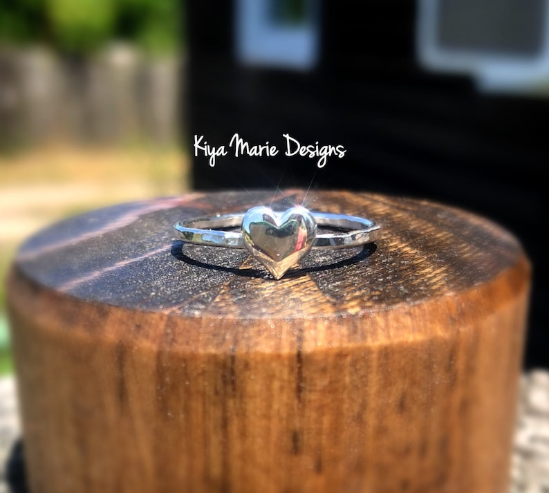 Heart Ring Silver love ring sterling silver heart Skinny image 0