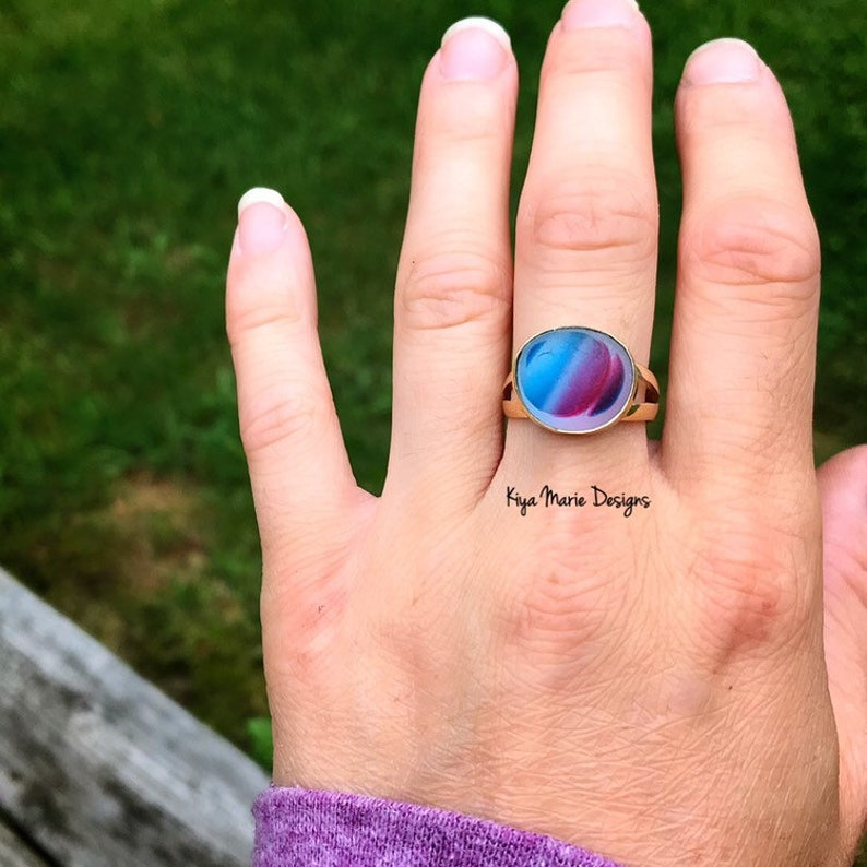 Sea Glass Ring English sea glass ring engagement ring bezel image 0
