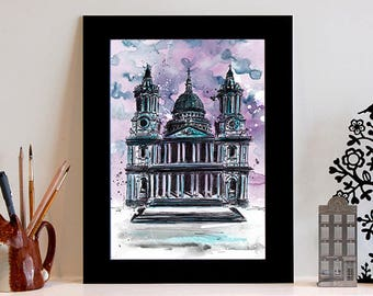 St Paul's Cathedral Illustration Print // History Art // Architecture // Art Print // London Print // History Print // Halloween