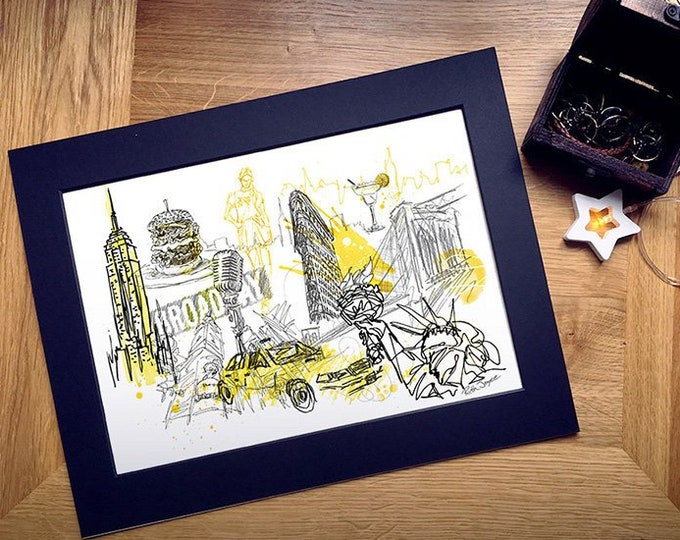 New York City Art Print, Can be Personalised with Names