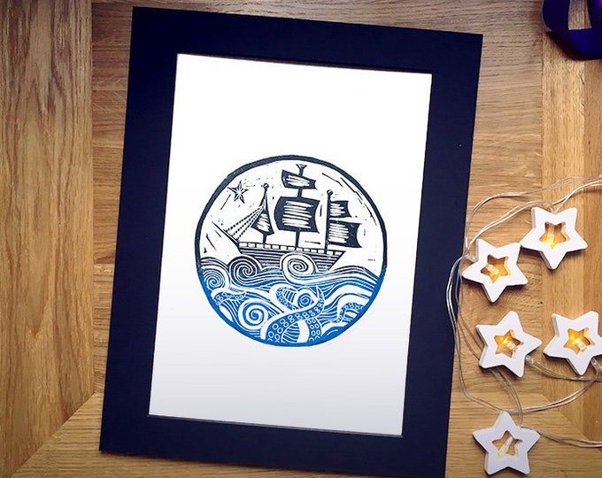 "Limited Edition 'Here Be Monsters' Hand-Printed Linocut Print 14"" x 11"", Hand Made Nautical Art Print"