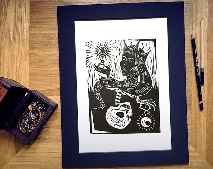 "Limited Edition 'The Queen' Hand-Printed Linocut Print 14"" x 11"", Hand Made Lady Macbeth Inspired Gothic Art Print"