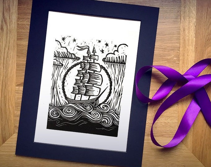"Limited Edition 'Stormy Seas' Hand-Printed Linocut Print 14"" x 11"", Hand Made Nautical Art Print"