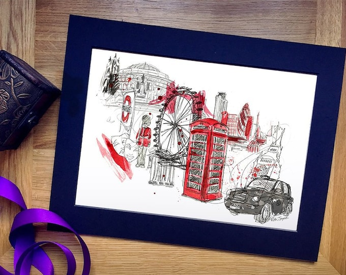 London Town Art Print, Can be Personalised with Names