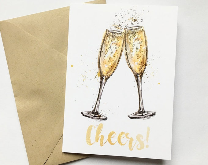 Cheers! Celebration Prosecco Greetings Art Card