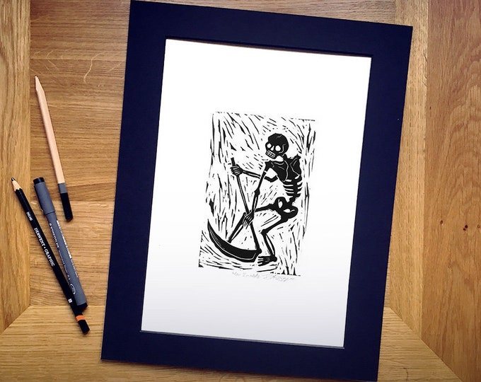 "Limited Edition 'La Morte' Hand-Printed Linocut Print 14"" x 11"", Hand Made Gothic Art Print"