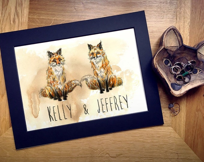 Personalised Fox Couple Art Print, Personalise with Names