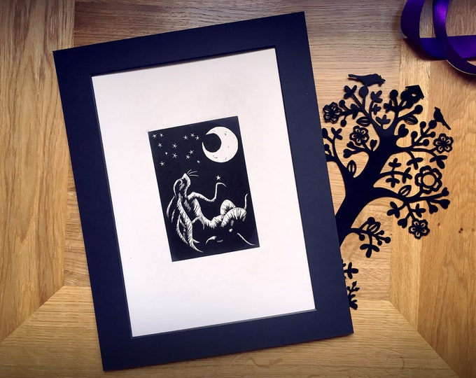 Limited Edition 'The Moon Gazing March Hare' Hand-Printed Linocut Print, Hand Made Art Print