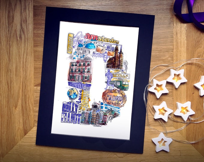 Personalised Letter Collage, Custom Initial Illustration Print