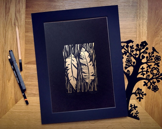 Limited Edition 'The Golden Feathers' A4 Hand-Printed Linocut Print, Hand Made Art Print