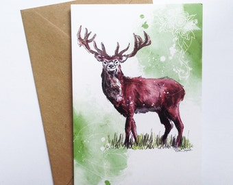 Stag Greetings Card // Stag Card // Birthday Card // Anniversary Card // Wedding Card // Art Card // Valentines Day Card // Mothers Day Card