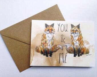 Fox Love Greetings Card // Fox Card // Birthday Card // Anniversary // Wedding Card // Best Friends // Art Card // Mothers Day Card