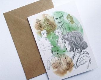 Poirot Inspired Greetings Card // Hercule Poirot Card // Birthday Card // Anniversary // Wedding Card // Art Card // Mothers Day Card