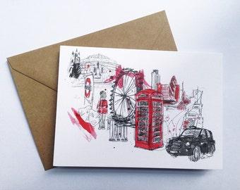 London Greetings Card // London Card // Birthday Card // Anniversary // Wedding Card // London Print // Art Card // Mothers Day Card