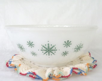 McKee Green Snowflake Opal Punch Bowl