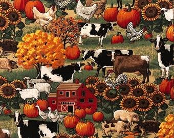 Farmers Market Quilting Cotton Half Yard Tan Golden Fall Colors