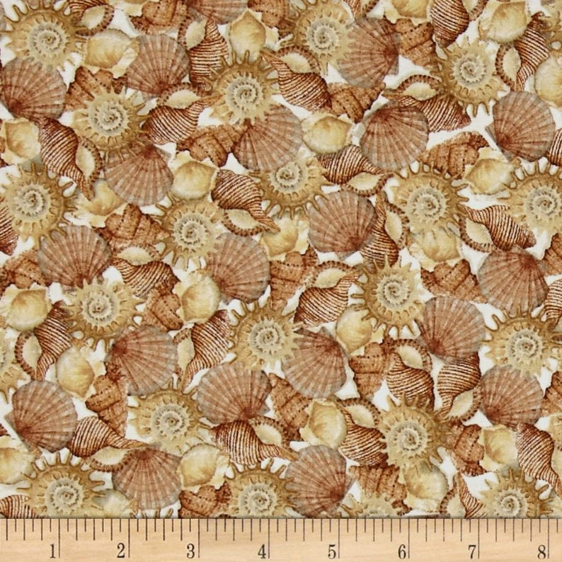 Wondrous Seashell Fabric By The Yard Quilt Cotton Sea Treasures Shell Fabric Hawaiian Tropical Beach Ocean Nautical Cottage Shabby Chic Home Interior And Landscaping Ologienasavecom