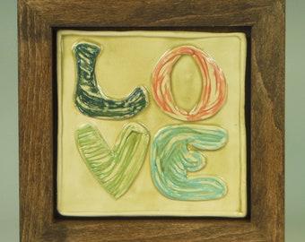 LOVE--Framed Tile