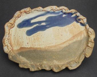 Edged Platter of Dark Stoneware and Three Glazes