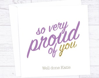 Congratulations 'So very proud of you' personalised card