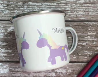 Childrens enamel mug - personalised kids mug - stocking filler - childrens mug -christmas mug - unicorn mug - Unicorns -campervan mug