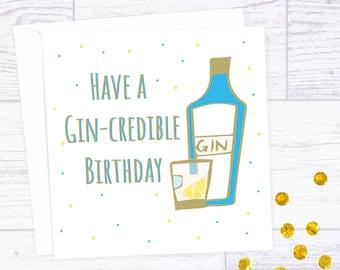 Funny Gin themed birthday card - Gincredible birthday card - Gintastic birthday card