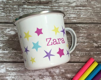 Childrens named mugs - camper van mug  - personalised enamel mug - camping mug - kids christmas - enamelware - mug with name on - star mug