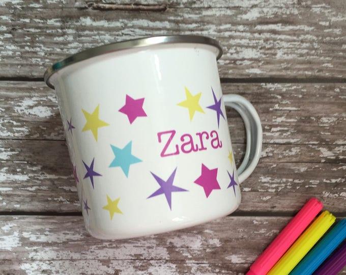Featured listing image: Childrens personalised enamel mug - personalised camping mug - name on a mug - childrens mug  - named kids mug - mug with name on