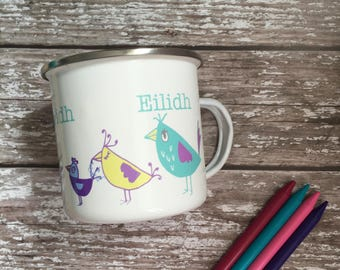 Childrens personalised mugs - childrens mugs - bird mug - cute kids cup -personalised enamel mug - personalised camping mug - Christmas mug