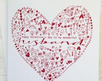 Valentine's card - husband valentine's card - husband heart card - love card - happy valentine's day husband - valentine's card for husband