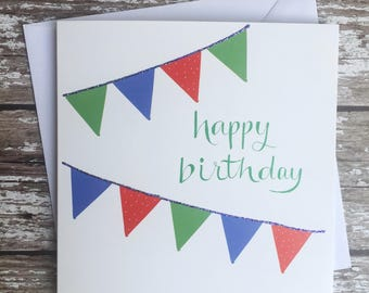 Birthday bunting card - red, green, blue
