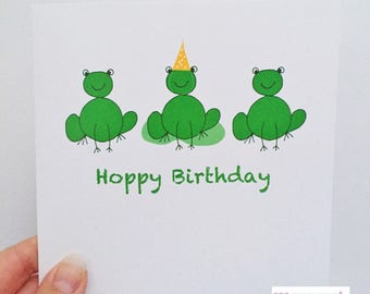Birthday card frogs - Frog Birthday card - Hoppy Birthday frogs - Kids birthday card - fubby birthday card - frog card - frogs