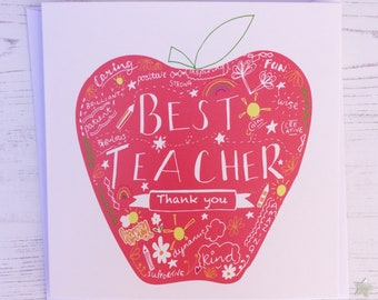 Personalised Teacher thanks card - Best teacher thanks card - Apple teacher card - personalised teacher thanks card - thank you teacher card