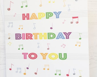 Music notes birthday card - Rainbow birthday card - musical notes birthday card - rainbow card - happy birthday to you card - music fan card