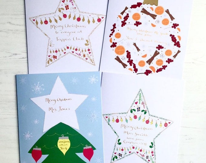 Featured listing image: Big personalised Christmas card - big teacher christmas cards  - personalised class teacher card - teacher card class to sign - Christmas