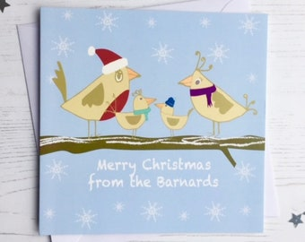 Personalised Bird family Christmas cards