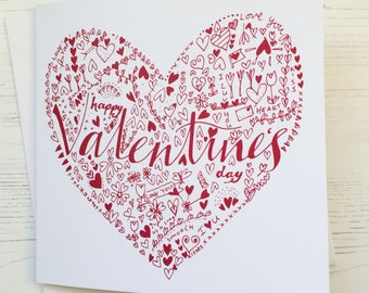 Valentine's card - heart valentine's card - heart doodle card - heart card - love card - hand lettered valentines card