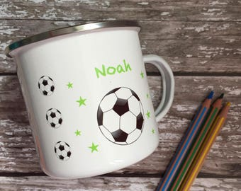Childrens personalised mugs - childrens mugs - Football mug - enamel mug-personalised enamel mug - personalised camping mug - named kids mug