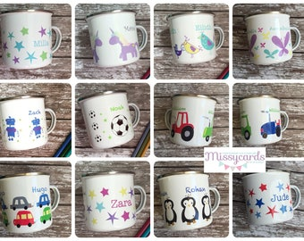 Name on a mug - childrens named mugs - enamel mug with names on - personalised enamel mug - camping mug - kids christmas present -enamelware