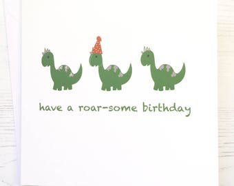 Dinosaur Birthday card - Dinosaur card - hand embellished Dinosaur birthday card - roarsome birthday card - boy birthday card - Dinosaur