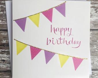 Birthday bunting - pink, purple, yellow.