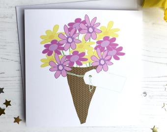 Mother' day card - flower mother's day card - flower card - bouquet card - personalised mother's day card