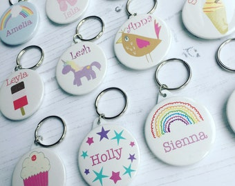 Personalised childrens keyring - stocking filler - name keyring keyring - handmade party bag favour - party bags - christmas kids