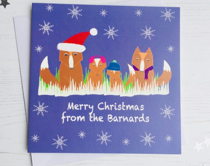 Featured listing image: Personalised Fox family Christmas cards