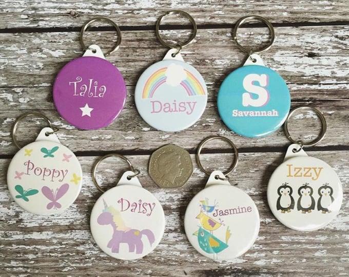 Featured listing image: Personalised childrens keyring - name keyring - back to school keyring - starting school keyring - backpack keyring - stocking filler